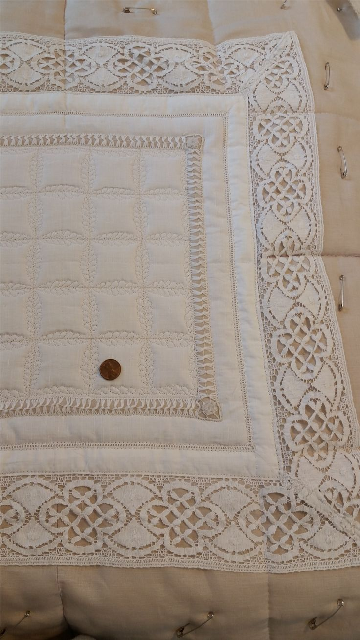 """Overall shot of Mary Stark's linen wholecloth using the 2"""" Ultimate Shape."""