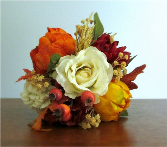 """Blaze"" Bouquet - Petite fall bridal or bridesmaid bouquet in ivory, cranberry red, golden yellow, burnt orange, copper, and tan with rose, peonies, chrysanthemum, hydrangea, baby's breath / gypsophila, rose hip berries and wheat. #fallwedding #autumn #PosiesPearls"