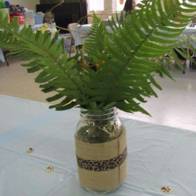Baby shower centerpiece I made for my sister's jungle themed baby shower.