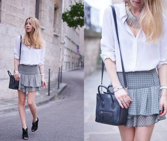 Mango Skirt, Equipment Shirt, Céline Bag