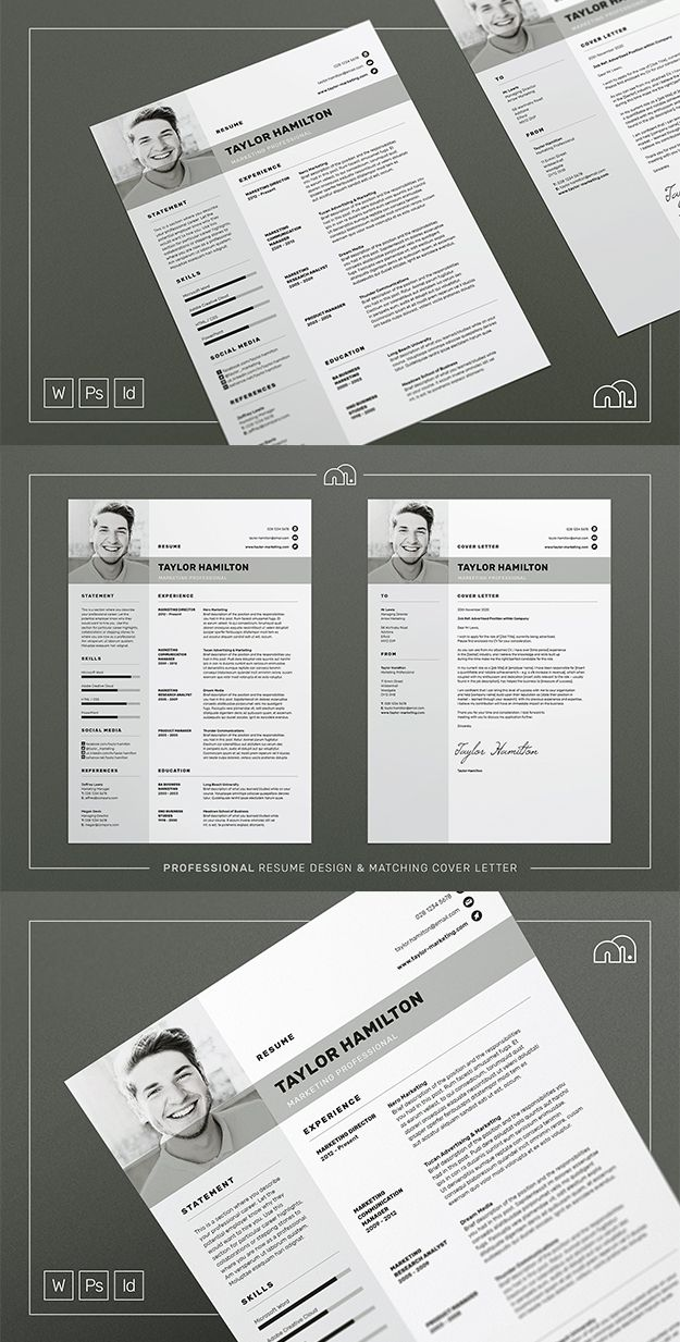 Resume / CV Template - Taylor - A structured and modern design, 'Taylor' offers a meticulously​ crafted layout to suit any profession. Also included is a matching cover letter (including sample letter) for a complete presentation. #resume #cv #template