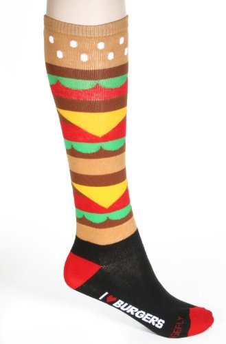 """I Love Hamburgers"" Funky Black Multi Knee High Socks Loungefly (need to get for my sis)"