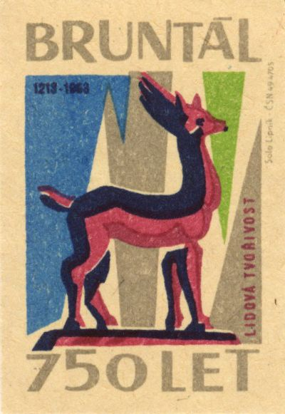 1963 Matchbox Label for Bruntal (Czech Republic)