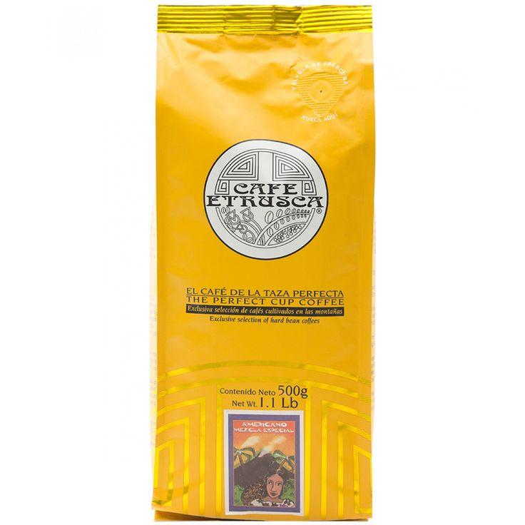 Café Etrusca americano mezcla especial; una mezcla de cafés arábigos cultivados en las altas montañas mexicanas profesionalmente seleccionados para obtener un café con excelente aroma pronunciada acidez y cuerpo entero.