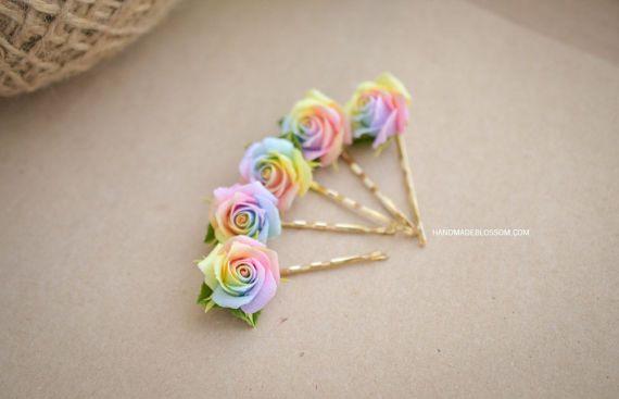 Pastel regenboog rozen haarspeld met polymeer klei roos haar