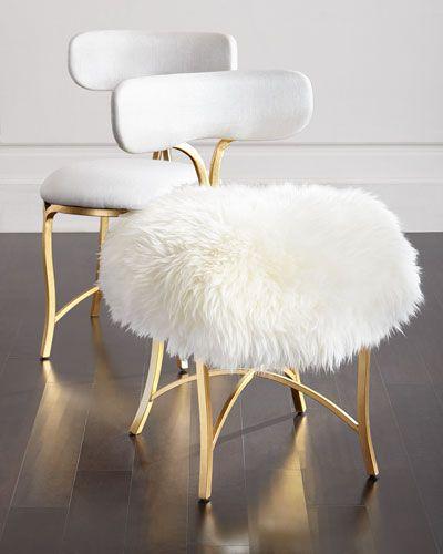 H8AUG Cynthia Rowley for Hooker Furniture Swanson Sheepskin Side Chair