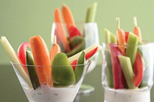 individual veggies & dip - we also did this with fruit dip and fruit spears, and we used little plastic wine glasses