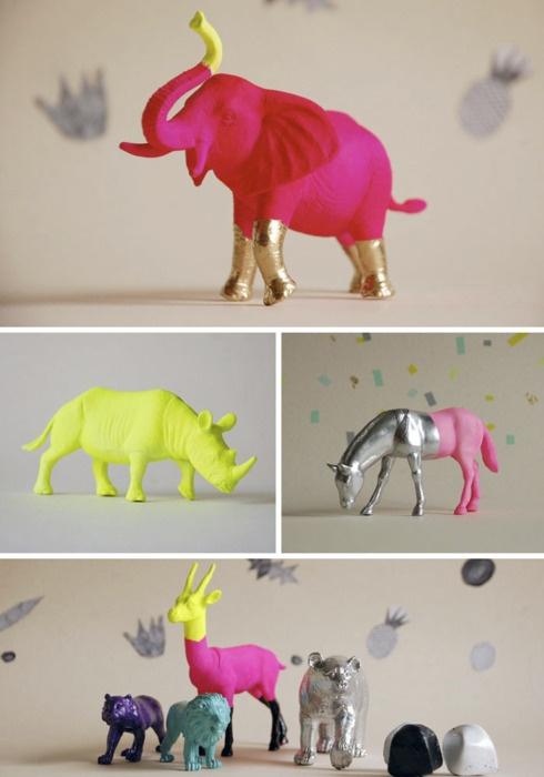 Painted animals.