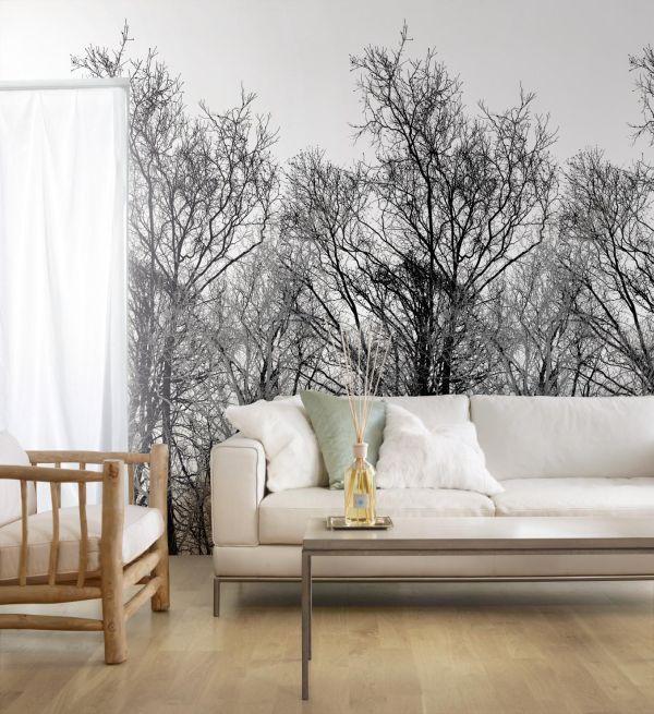 Gestreifte Tapeten Schwarz Wei? : Wood 2483 Vlies-Tapete Wandbild Foto B?ume Schwarz Wei? Digital Art
