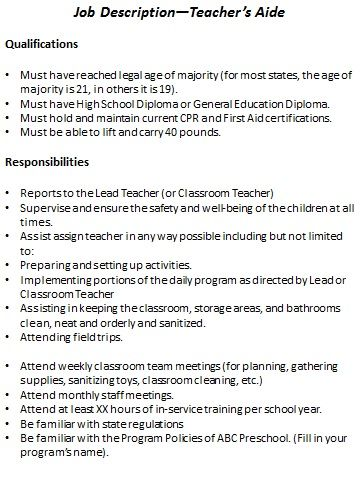 substitute teacher job description for resume publicassetsus best directing preschool staff images on preschool - Teaching Assistant Resume Description