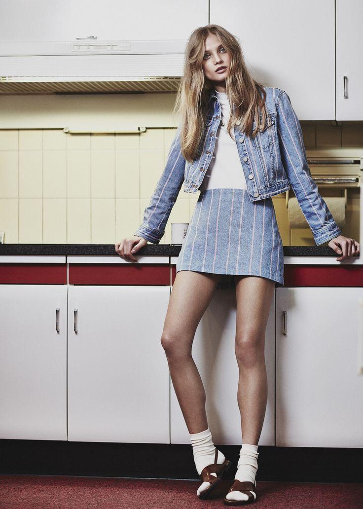 Anna Selezneva by Emma Tempest for Mixte Magazine Spring/Summer 2015 pink stripes