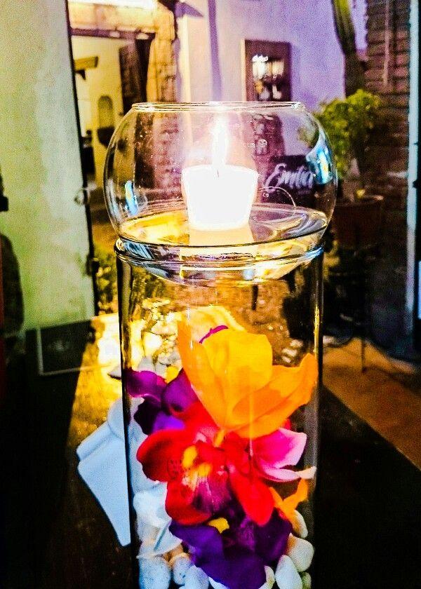 Flores con veladora