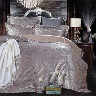 BETTERHOME  Duvet Cover/Duvet Cover Set Comfort Luxury Modern 4 Piece Jacquard Faux Silk Full – USD $ 43.99