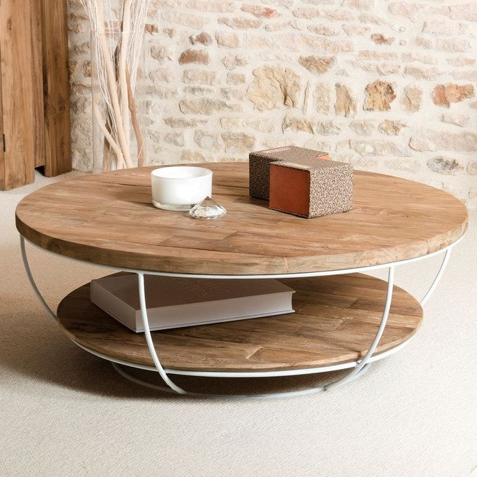 Table Basse Ronde 100cm Teck Recycle Et Metal Blanc Style Contemporain Industriel Swing En 2020 Table Basse Ronde Table Basse Table Basse Bois
