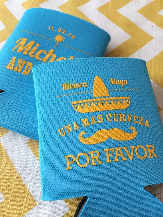 Mexico Destination Wedding Koozies Sombrero Fiesta by RookDesignCo