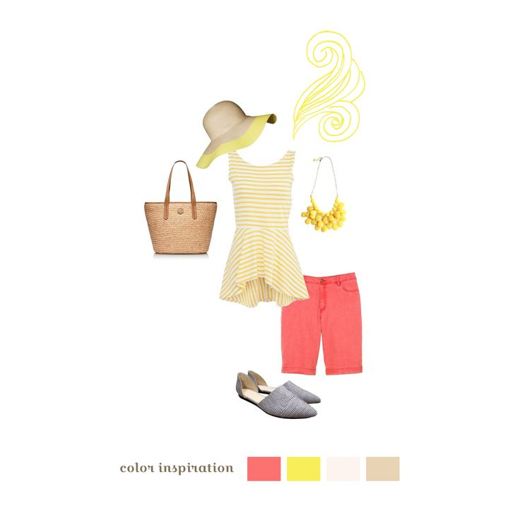 Pink Lemonade - Ah, pink and canary yellow stripes ­ the classic summer outfit! A relaxed ruffle­hemmed shirt with stripes is slimming and comfortable. Brightly colored cropped pants are playful and comfy to wear. Muted tans and greys for accessories make sure not to draw too much attention away from you, and a wide­brimmed straw hat keeps you cool and looking fabulous! Flowy, stretchy fabrics feel wonderful and look great on camera.