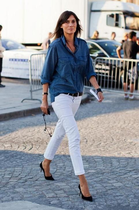 White jeans plus a denim shirt: street style outfit ideas we love