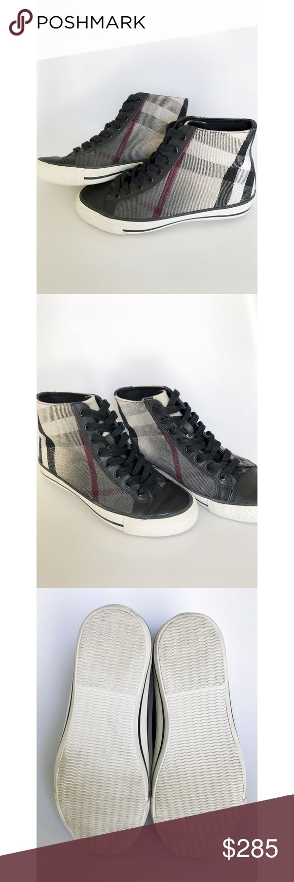 "Woman's Burberry High Top Sneakers Truly worn maybe twice. I do not have the dust bag or box. Please see last pic for authenticity code. The main shoe is canvas and is surrounded by genuine leather. The inner sole of the shoe is also leather and stamped ""Burberry"". Size 37 (ladies 7) runs true to size. Burberry Shoes Sneakers"