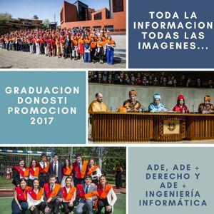 El acto de graduación de la Promoción 2017 en ADE, ADE+Derecho y ADE+Ingeniería Informática, comenzó a las 11.30 horas del sábado 21 de abril, en el Loyola Centrum de San Sebastián, entonando el Agur Jaunak con la intervención de la Escolanía del Coro Easo 'Araoz Gazte'.