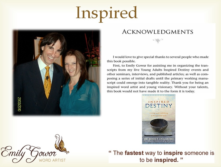 Working with Dr. John Demartini as a facilitator and editor (for his latest book Inspired Destiny)