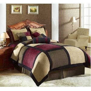 #2: 7 Pieces Brown, Burgundy, and Black Suede Patchwork Comforter Size 90 X 92 Bedding Set / Bed-in-a-bag Queen Machine Washable