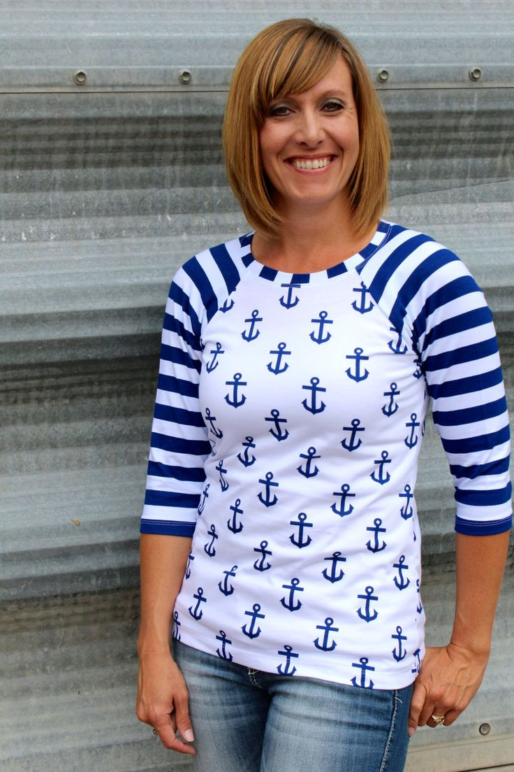 Royal Blue and White Anchors with Blue and White Striped Sleeve Knit Baseball t shirt Raglan Sleeve Shirt From GreenStyle by Gogreenstyle on Etsy