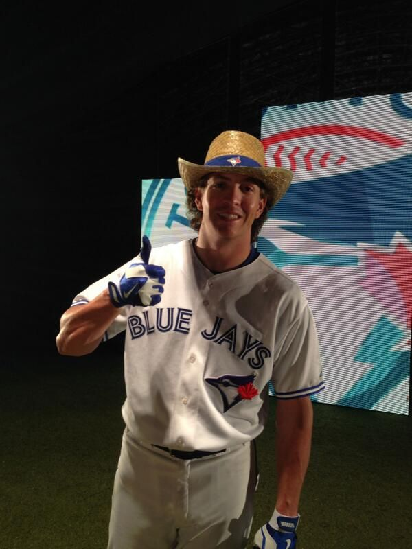 Colby Rasmus wears the @Sally McWilliam Elmore Cowboy hat being given away 06/01 http://atmlb.com/1hEFyjR  pic.twitter.com/BpEyrgDNcf