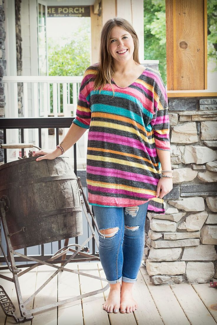 "- 78% Polyester, 22% Rayon - 33.5"" Front, 37"" Back You'll {DEFINITELY} make a statement in this STUNNING Striped Knit High-Low…"