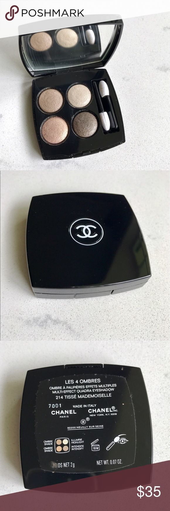 Chanel Les Ombres Eye Quad 214 Tisse Mademoiselle This beautiful Chanel Les 4 Ombres eyeshadow palette is gently used. It is Chanel's baked shadow formula, and the colors form a gradient of warm beige to brown. CHANEL Makeup Eyeshadow