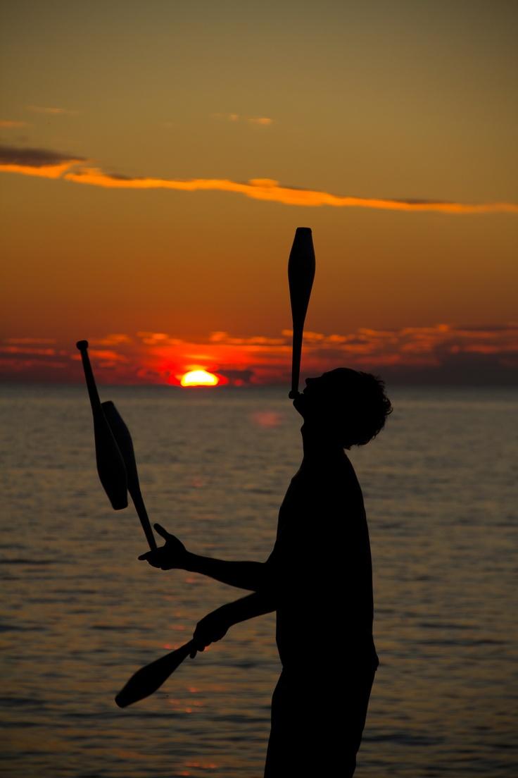 Sunset Juggler in Visby, SWEDEN