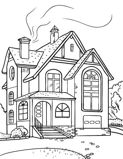 Printable House Coloring Page Free PDF Download At Coloringcafe