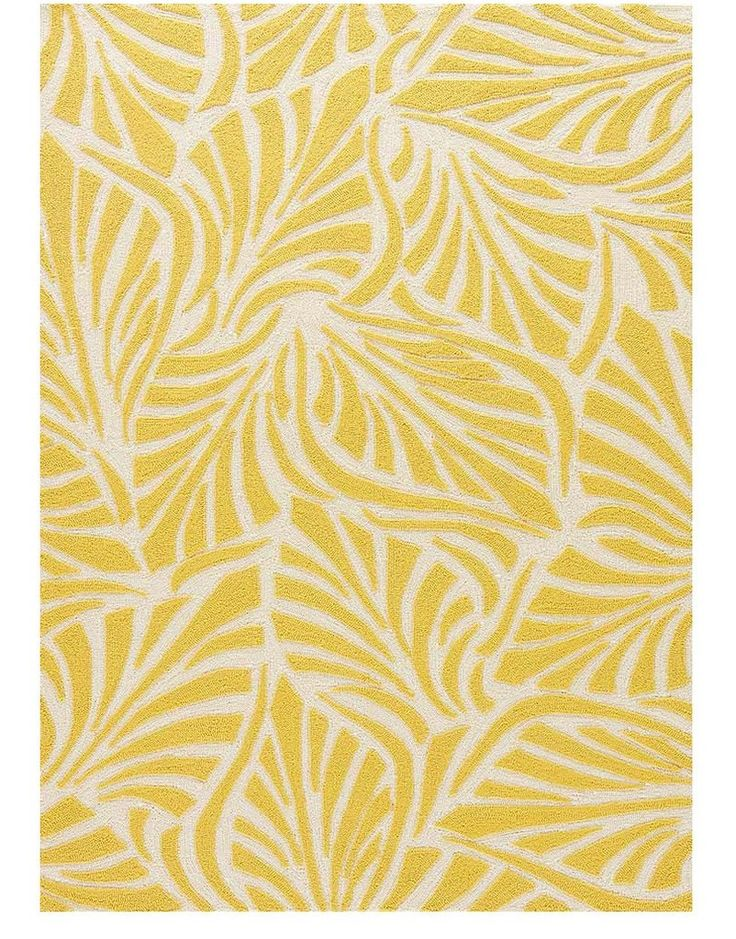 Enjoy the fresh and modern design of our vibrant tropical rug. This yellow indoor outdoor rug boasts supreme hand-hooked polypropylene construction with a geometric exotic leaf pattern in bright yello