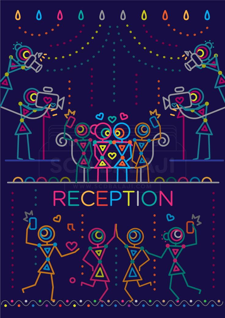 Indian Reception Invitation Design. Indian Wedding Invitation Suite Illustrated and Designed by www.scdbalaji.com, Indian Illustrator. Invite Illustration Style inspired by Ancient Indian Iconography found in Warli, Folk Art of India.