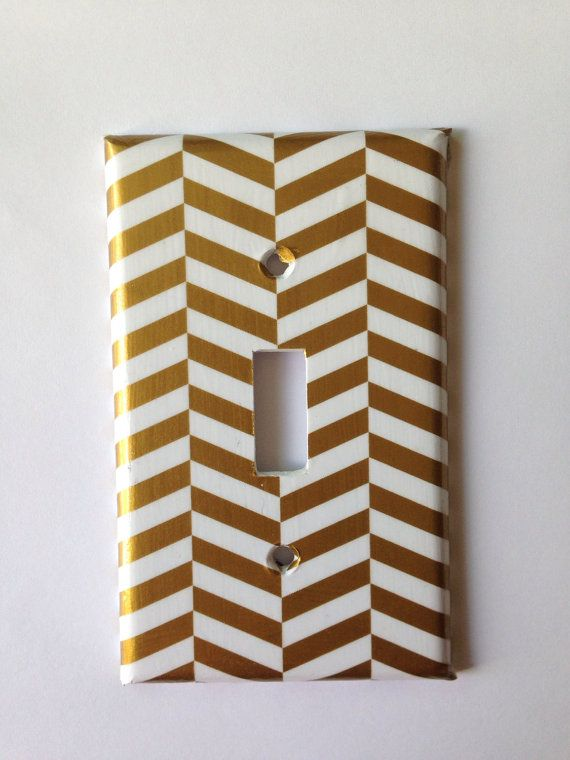 Metallic Gold White Chevron Single Light by COUTURELIGHTPLATES Gold Nursery , black and white nursery, Gold Decor light Switch Cover / Coral Mint by COUTURELIGHTPLATES Coral nursery decor #goldnursery