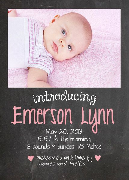 Baby Girl Chalkboard Birth Announcement by ChicMommaDesigns, $10.00