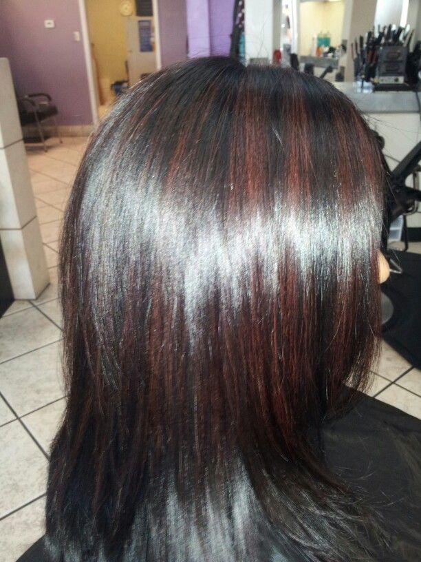 *burgandy highlights on dark hair by Shawna*