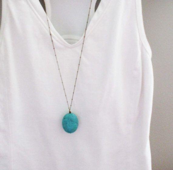TURQUOISE Pendant Necklace...Long Turquoise Necklace...Layering Necklaces...Simple Boho Necklace Long...Antique Bronze...Antique Silver