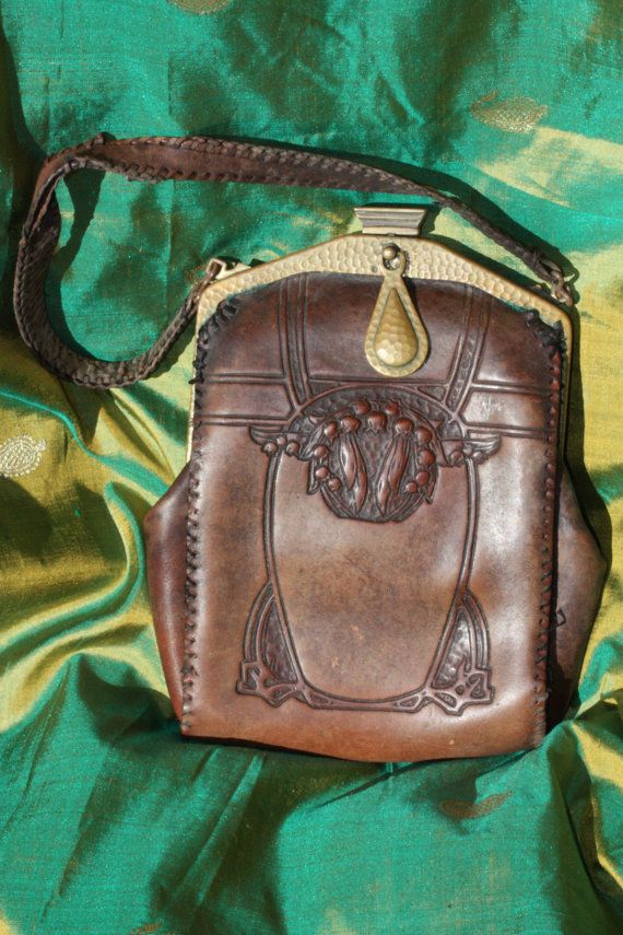 Art Nouveau Antique hand tooled leather bag by oceannegypsyvintage, $55.00