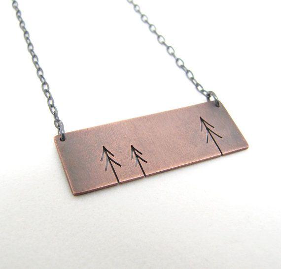 Rectangle Copper Three Pine Trees Tree Art pendant by silentgoddess