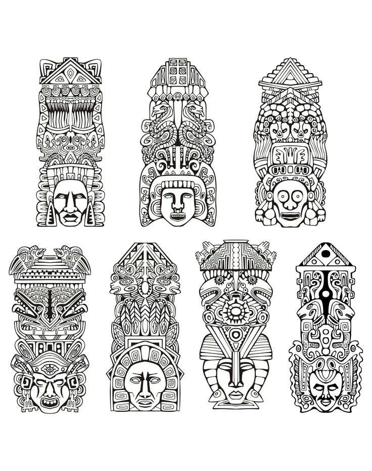 Free coloring page coloring-adult-totems-inspiration-inca-mayan-aztec. Totems inspired by Aztecs, Mayans and Incas