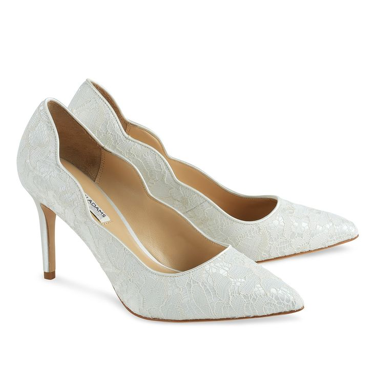 The Classic Diana Court Shoe Is Covered In Delicate Ivory Lace Leather