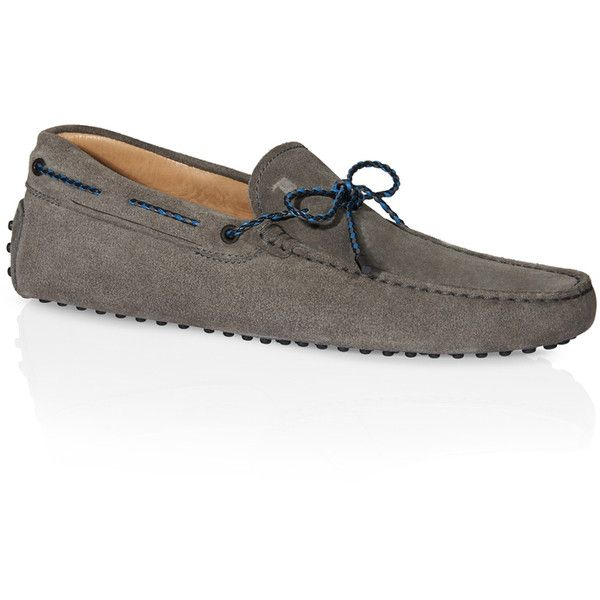 Tod's - Gommino Driving Shoes in Suede ($495) ❤ liked on Polyvore featuring men's fashion, men's shoes, men's loafers, grey, mens suede shoes, mens suede driving shoes, mens woven leather shoes, mens gray suede shoes and mens grey suede shoes