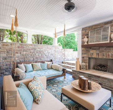 Two Story Double Porch With Outdoor Fireplace, Travertine Patio, And AZEK  Deck   Contemporary   Porch   Nashville   The Porch Company Love This  Outdoor ...