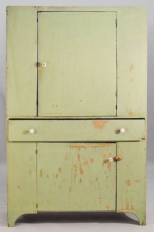 Elegant N.E. PAINTED BLIND FRONT COUNTRY CUPBOARD