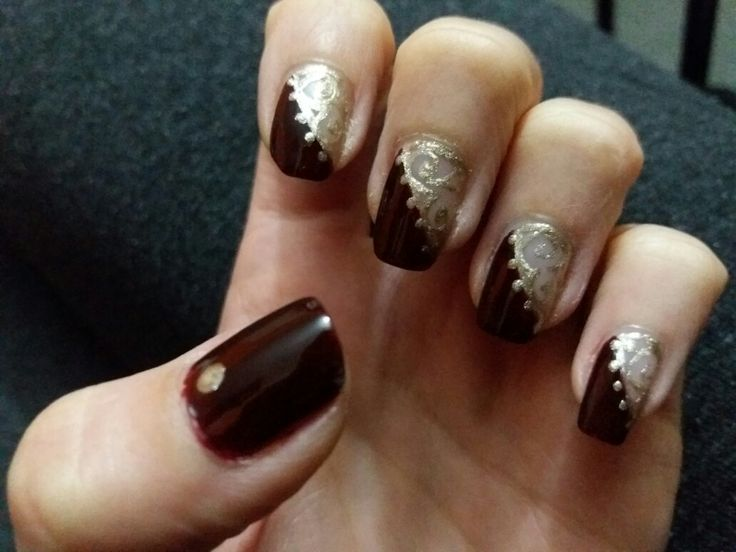 Nails: dark red -  gold