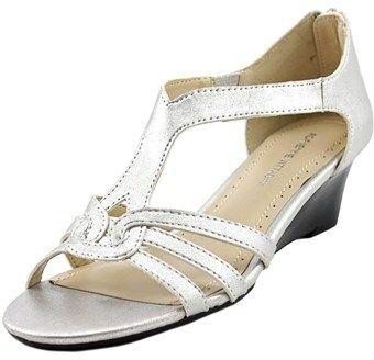 Adrienne Vittadini Caldre Women Open Toe Synthetic Silver Wedge Heel.