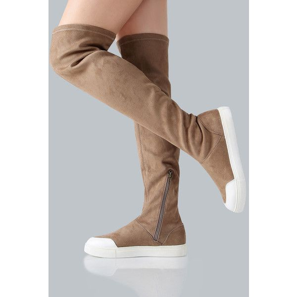 Faux Suede Flat Knee Boots TAUPE ($43) ❤ liked on Polyvore featuring shoes, boots, brown, brown flat boots, taupe flat boots, flat heel boots, flat shoes and taupe knee high boots
