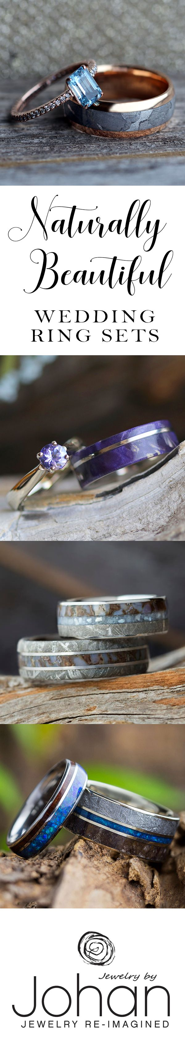 Browse hundreds of pre-designed wedding ring sets or completely customize your own! Choose from unique materials like meteorite, dino bone, exotic woods and deer antler.