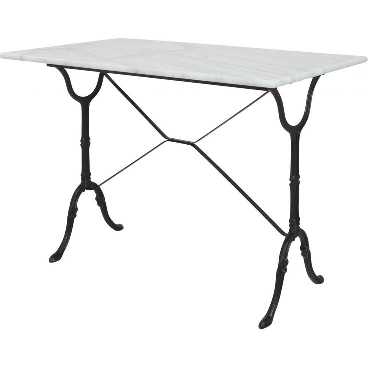 The Bologna marble table is cafe style dining table with a black footed cast iron pedestal base and white Carrera marble top. This table may be used indoors or outdoors. If used outdoors you may notice some surface rust form on the base and the table top may decrease in lustre over time.