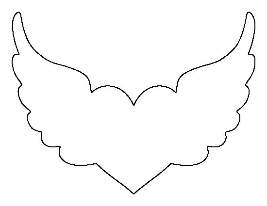Heart With Wings Pattern. Use The Printable Outline For